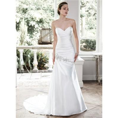 charming mermaid strapless ruched satin corset wedding
