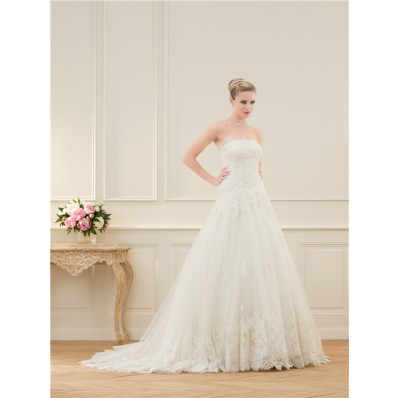 Classic A Line Strapless Scalloped Lace Wedding Dress Corset Back