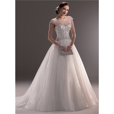 Classic Ball Gown Illusion Neckline Cap Sleeve Tulle Beaded Crystal Wedding Dress