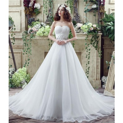 Classic Ball Gown Strapless Corset Back Organza Crystal Wedding Dress Long Train