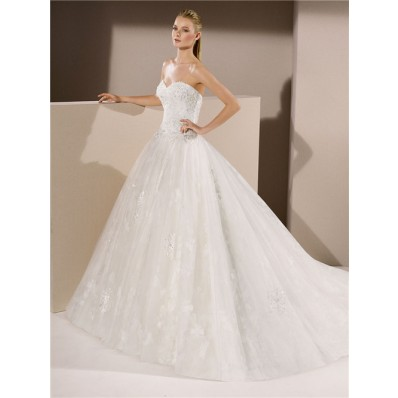classic ball gown sweetheart tulle lace beaded wedding