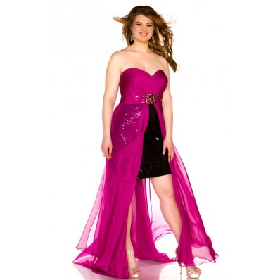 Classic Strapless Sweetheart Black Sequined Magenta Chiffon Plus Size Party Prom Dress