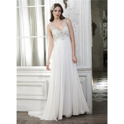 Classy Sheath V Neck Open Back Chiffon Beaded Destination Wedding Dress