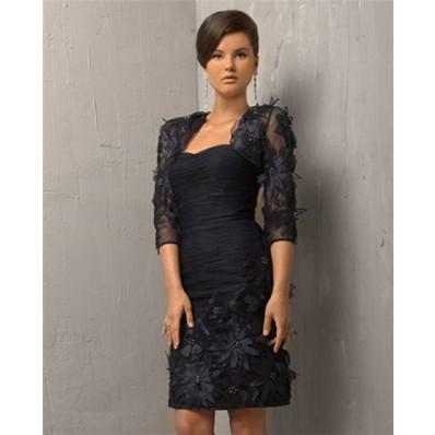Column Strapless Short Black Flowers Cocktail Evening Dress With Bolero Jacket