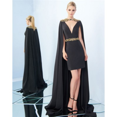 Column V Neck Short Black Satin Gold Beaded Evening Prom Dress With Cape