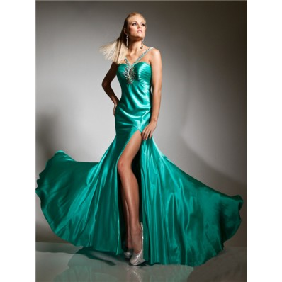 Couture Mermaid Straps Long Turquoise Silk Prom Dress Cut Outs Backless