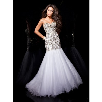 Couture Mermaid Sweetheart Long White Tulle Evening Prom Dress With Beading