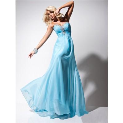Cute A Line Princess Sweetheart Long Light Blue Chiffon Evening Prom Dress Beading