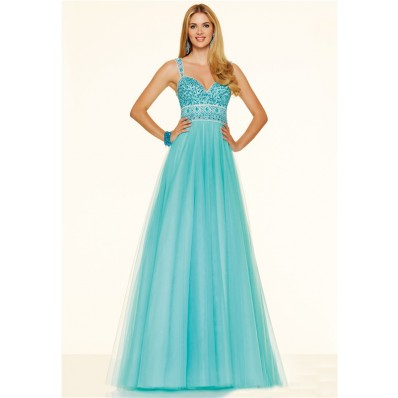 Cute A Line Sweetheart Open Back Long Aqua Tulle Beaded Prom Dress With Straps