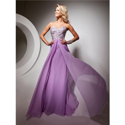 Cute Sweetheart Floor Length Lilac Chiffon Prom Dress With Beading