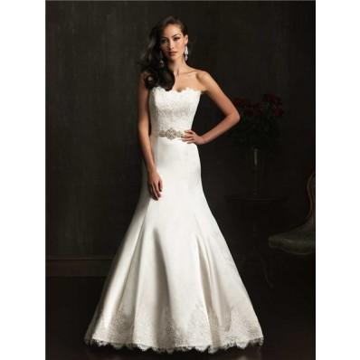 Designer Mermaid Strapless Lace Satin Wedding Dress With Crystal Belt