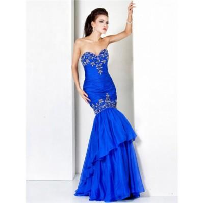 Designer Mermaid Sweetheart Long Royal Blue Chiffon Beading Evening Wear Dress