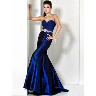 Designer Mermaid Sweetheart Long Royal Blue Taffeta Chiffon Evening Wear Dress