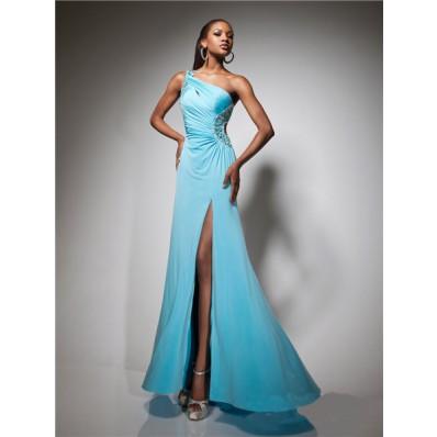 Designer One Shoulder Long Blue Chiffon Beading Prom Dress Backless Cut Out
