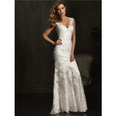 Dramatic Mermaid Cap Sleeve V Neck Lace Wedding Dress With Sheer Back