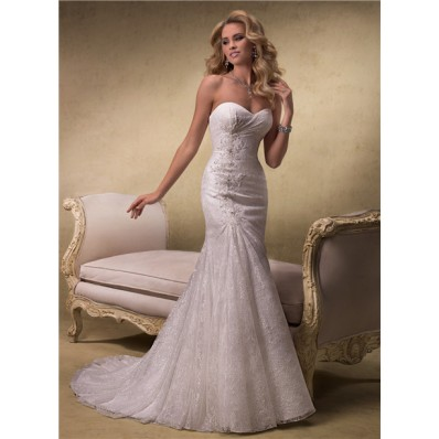 Elegant A Line Strapless Sweetheart Lace Wedding Dress With Corset Back