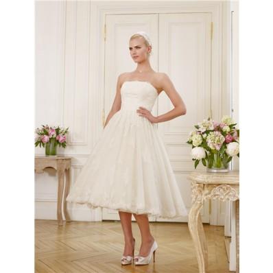 Elegant A Line Strapless Tea Length Vintage Lace Garden Beach Wedding Dress With Bow
