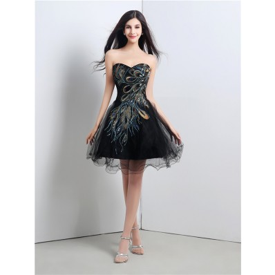 Elegant Ball Strapless Short Mini Black Tulle Peacock Applique Prom Dress