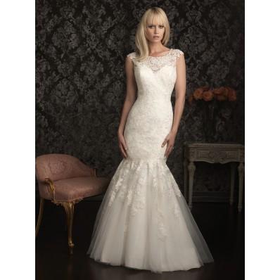 Elegant Mermaid Cap Sleeve Scoop Neck Lace Wedding Dress Pearls Beading