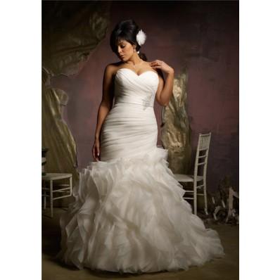 elegant mermaid sweetheart corset back organza ruffle plus