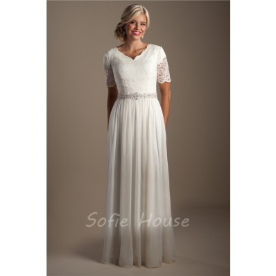 Elegant Sheath Short Sleeve Lace Chiffon Modest Beach Wedding Dress With Belt