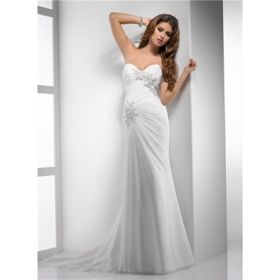 Elegant Sheath Sweetheart Destination Beach Chiffon Wedding Dress With Lace Beading Corset Back