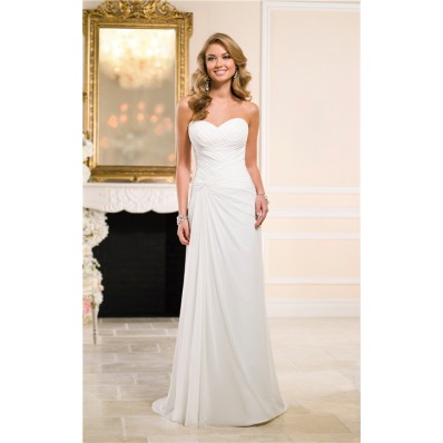 Elegant Sheath Sweetheart Ruched Chiffon Beach Wedding Dress Corset Back