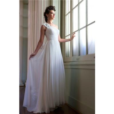 Elegant Simple Sheath One Shoulder Ruched Chiffon Beach Garden Wedding Dress