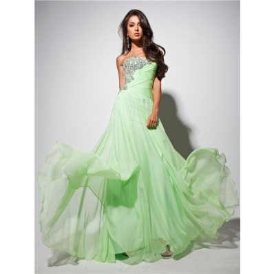 Elegant Strapless Long Light Green Chiffon Prom Dress With Beading