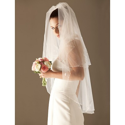 Elegant Two Layer Tulle Wedding Bridal Veil With Beaded