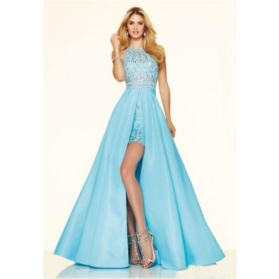 Elegnat High Low Open Back Blue Chiffon Beaded Pageant Prom Dress