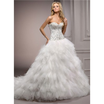 Fairy Ball Gown Sweetheart Puffy Tulle Satin Embroidery Beaded Wedding Dress