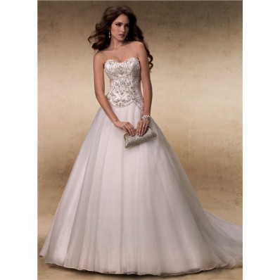 Fairy Ball Gown Sweetheart Satin Tulle Beaded Crystals Wedding Dress