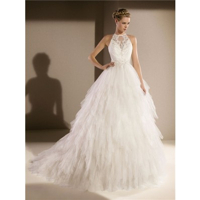 Fairy Tale Ball Gown High Neck Keyhole Back Beaded Lace Layered Tulle Wedding Dress