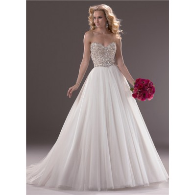 Fairytale Ball Gown Sweetheart Tulle Wedding Dress With Sparkle Swarovski Crystals