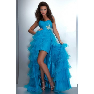 Fashion High Low Hem Sweetheart Turquoise Blue Tulle Beaded Prom Dress