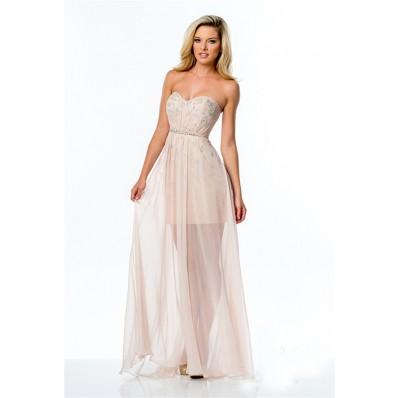 Fashion Strapless Peach Chiffon Beaded Long Prom Dress Illusion Skirt