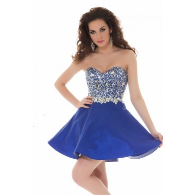Fashion Strapless Short Royal Blue Satin Beaded Crystal Cocktail Party Dress