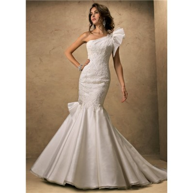 Fit And Flare Mermaid One Shoulder Organza Lace Wedding Dress Corset Back