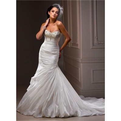 Fit And Flare Mermaid Sweetheart Beaded Crystal Taffeta Wedding Dress With Ruching