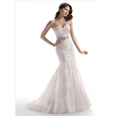 Fit And Flare Mermaid Sweetheart Lace wedding Dress With Crystal Belt