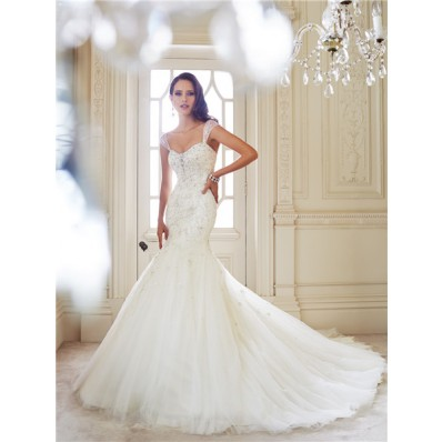 Fit And Flare Mermaid Tulle Lace Beaded Crystal Corset Wedding Dress Sheer Straps