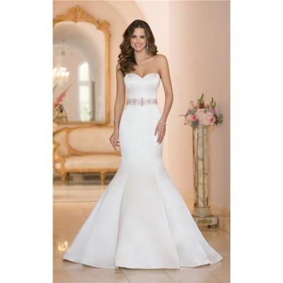 Fit And Flare Strapless Satin Wedding Dress With Crystals Sash Buttons