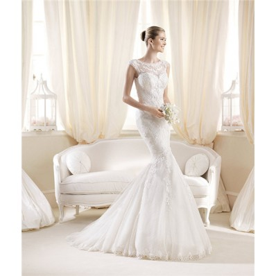Fit Mermaid Bateau Neckline Cap Sleeves Lace Wedding Dress With Illusion Back