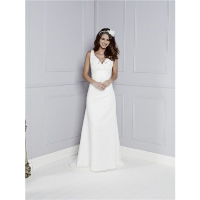 Fitted A Line V Neck And Back Satin Lace Crystal Beaded Wedding Dress With Belt