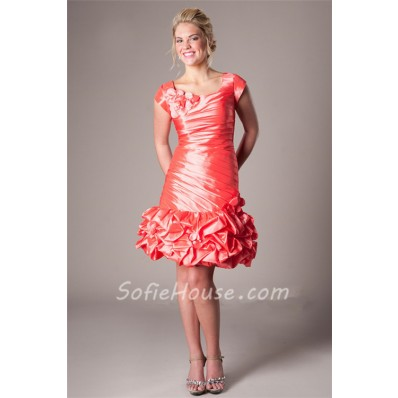 Fitted Cap Sleeve Short Coral Taffeta Ruched Prom Dress With Flowers