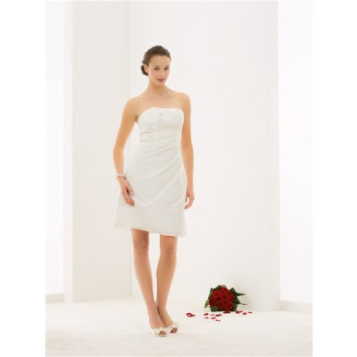 Fitted Strapless Taffeta Draped Short Wedding Dress With Flowers