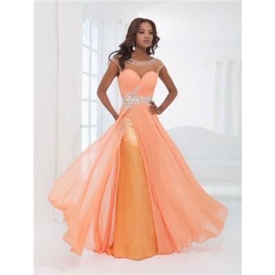 Flowing Illusion Neckline Cap Sleeve Backless Long Orange Chiffon Beaded Prom Dress