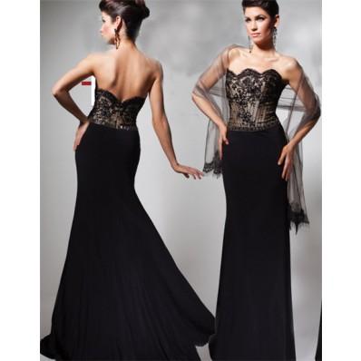 Formal Mermaid Strapless Scalloped Long Black Lace Chiffon Beaded Evening Prom Dress