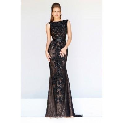 Formal Sheath Bateau Neck Backless Long Black Lace Beaded Evening Prom Dress With Belt